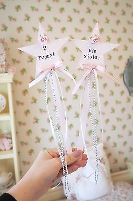 Vintage Shabby Chic Personalised Pink Polka Dot Star Fairy Wand Photoshoot Prop