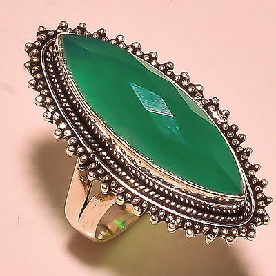 """Amazing Faceted Green Onyx Gemstone .925 Sterling Silver Ring 8"""""""