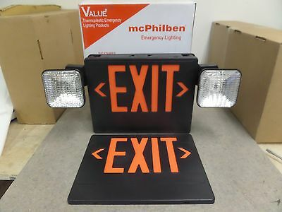 New McPHILBEN VCRB RED EXIT AND EMERGENCY LIGHT WITH DUAL BATTERY BACKUP