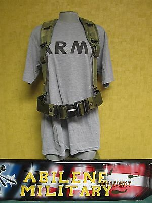 Us Military Lbe Pistol Belt & Suspenders Shoulder Harness Medium Belt Good
