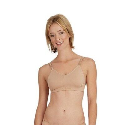 Capezio 3683 Women's Small Nude Seamless Clear Back Bra w/ Adjustable Straps