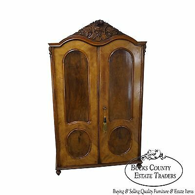 Antique 19th Century Burl Wood European Armoire