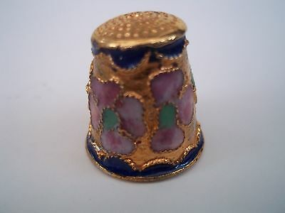 Collectable Enamel Flowers on Brass Decorated Thimble