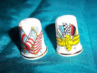 Lot 2 Collectable Bone China Thimbles, Indianapolis Motor Speedway/USA Flags