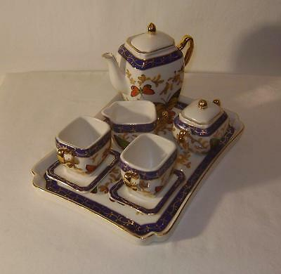 Vintage Miniature Pottery Cabaret Tea Set on tray - for Dolls House: Butterflies
