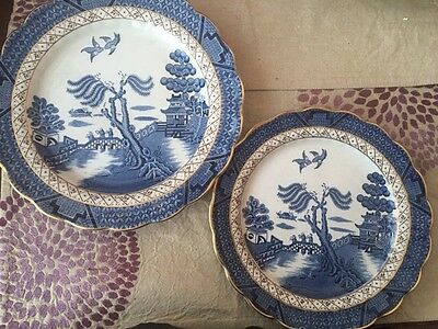 """2 Royal Doulton Booths """"real Old Willow"""" Plates"""