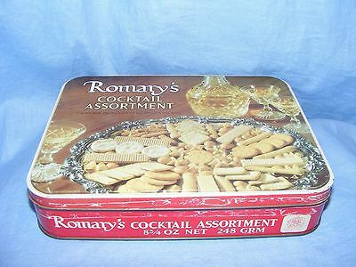 Vintage Old Advertising Tin Romanys Cocktail Biscuits Tin Kitchenalia Rare