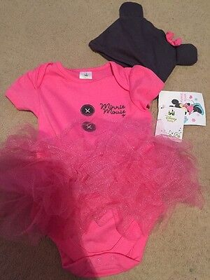 Brand New Girls Minnie Mouse Tutu Vest With Hat 6-9 Months Babies R Us