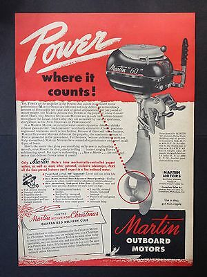"""Vintage 1947 Ad (Odl3)~Martin """"60"""" Outboard Motors. Eau Claire, Wisc."""