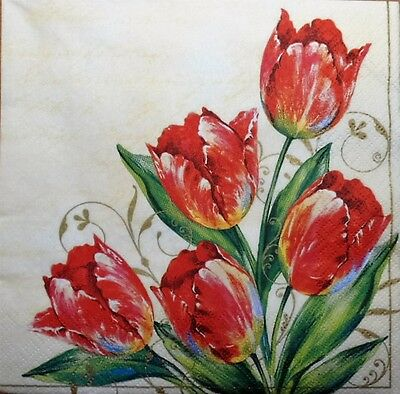 4 x SINGLE PAPER NAPKINS- red tulips DECOUPAGE  CRAFT PARTY 20