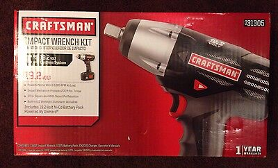 """NEW Craftsman 19.2V Cordless 1/2"""" Impact Wrench Kit w NiCad Battery & Charger"""