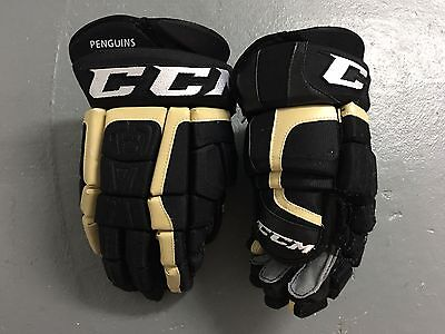 """CCM CL Pittsburgh Penguins NHL Pro Stock Return Ice Hockey Player Gloves 13"""""""