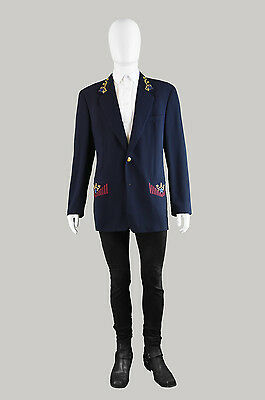 Vintage 80s BYBLOS Mens Embroidered Blazer Dark Navy Blue Wool Jacket Italian