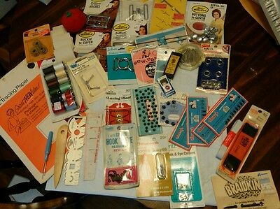 Large lot of vintage sewing notions, needles, thread, trim, snaps, so much more