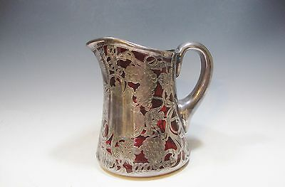 "Heavy Ruby Red Glass Pitcher w/Art Nouveau Silver Overlay - 6 1/2""H"