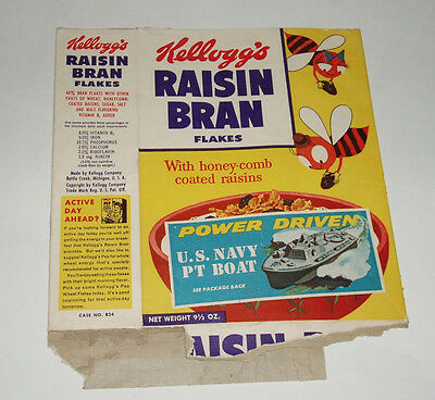 1950's Kelloggs Cereal Box with US Navy PT Boat Premium Offer baking soda