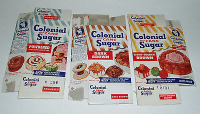 1960's Colonial Cane Sugar Boxes grocery store vintage