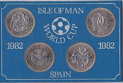 Crowns set of 4 Isle Of Man 1982 World Cup UNC
