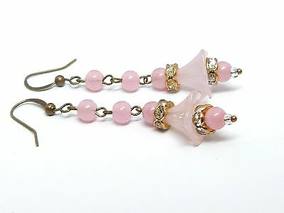 Vintage 1950s pink glass flower bead and rhinestone earrings match old necklaces