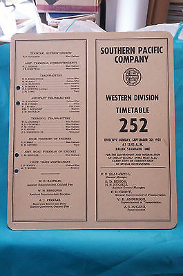 Southern Pacific Employee Timetable #252, Western Division, Sept. 30, 1951