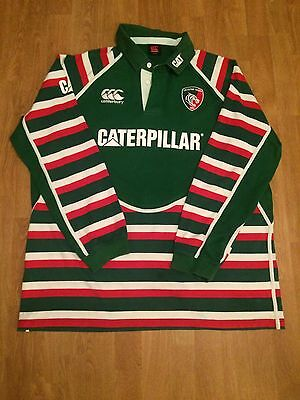 Leicester Tigers Rugby Green Classic Style Long Sleeve Shirt Size 3Xl