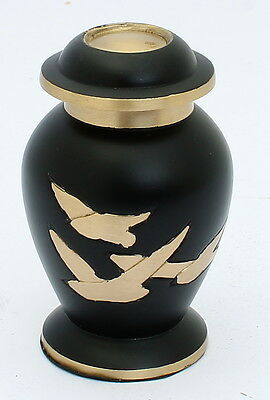 Mini Urn for ashes, Cremation Funeral Memorial Small Keepsake, Black/Gold Bird