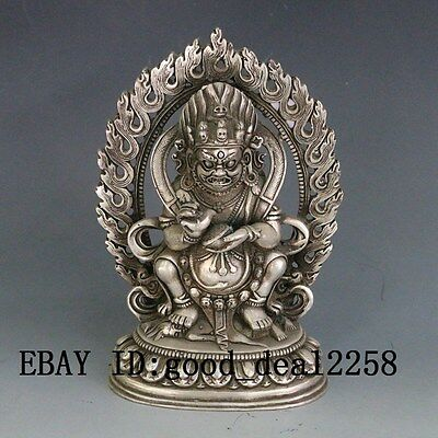 Chinese Hand Carved  Silver Copper Zang Fortuna statue gd7537