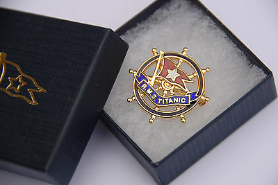 RMS TITANIC Gold and Enamel Pin Badge from RARE 1912 White Star Line original