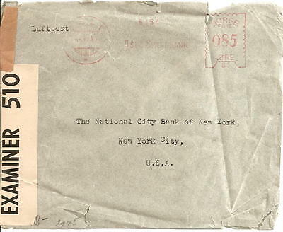 Norway Censored Mail From Sweden to New York 1941