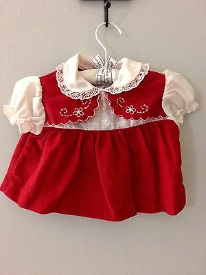 1970's Vintage Red & White Dress for Baby Girl | Size 3 - 6mths