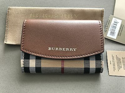 Burberry Women's Card Case Small Wallet Horseferry Check / Tan NEW!
