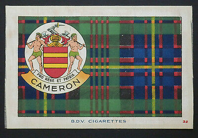 """CAMERON CLAN Tartan and Coat of Arms 6"""" x 4"""" SILK CARD issued in 1922"""