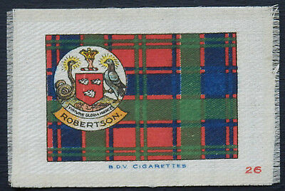 ROBERTSON Clan Tartan and Coat of Arms SILK card issued in 1922
