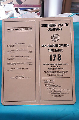 Southern Pacific Employee Timetable #178, San Joaquin Division, Sept. 27, 1953