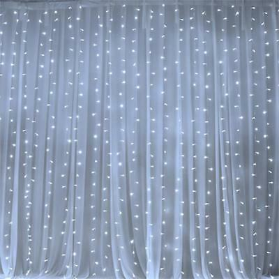 White LED Lights on Organza BACKDROP 20 ft x 10 ft Party Wedding Decorations