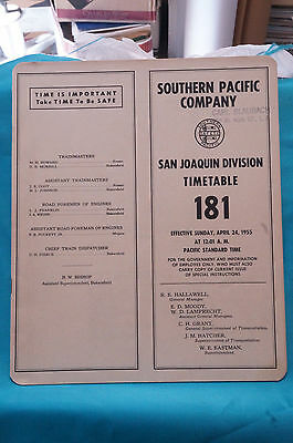 Southern Pacific Employee Timetable #181, San Joaquin Division, April 24, 1955
