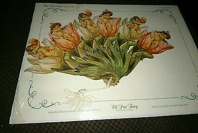 Fan greetings cards antique paper old print factory victorian cherubs