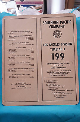 Southern Pacific Employee Timetable #199, Los Angeles Division, April 26, 1953
