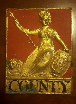 Antique County Fire Insurance Sign Painted Tin Britannia