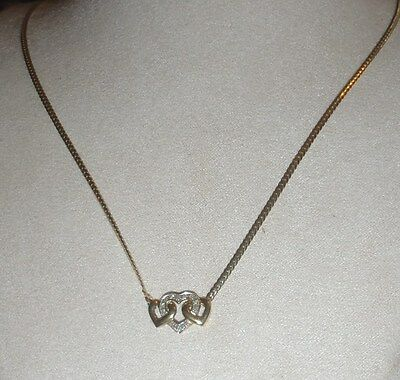 9Ct  Yellow Gold & Diamond Antique Hearts Necklace