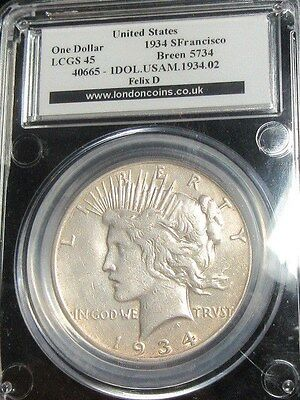 USA United States Peace Dollar 1934S San Francisco Rare Slabbed In Silver.