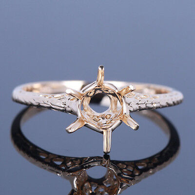 6mm Round Bridal Engagement Wedding Prong Setting Filigee Ring 10K Yellow Gold
