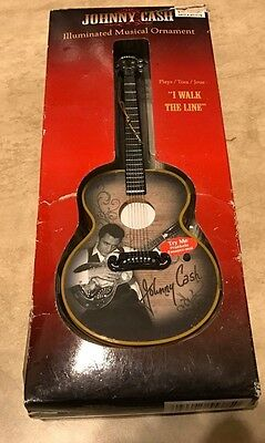 Johnny Cash Illuminated Musical Guitar Ornament I Walk the Line NEW in box works