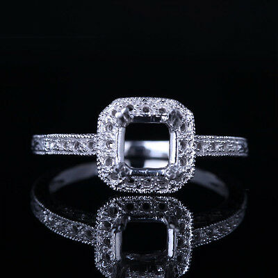 Solid 10K White Gold Prong Cushion Round Shaped Wedding Classic Ring Semi Mount