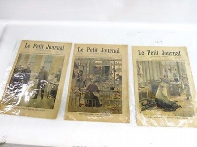 Antique French Le Petit Journal Newspaper Lot of 3 - 1892, 1897, 1901 Magazine