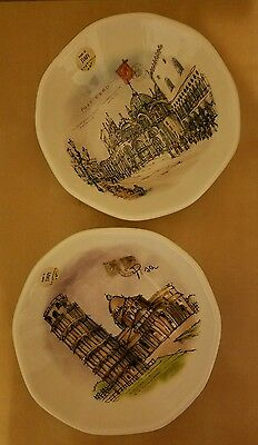 NEW EFFETTI d'Arte HANDMADE in ITALY SET of 2  PASTA/SALAD BOWLS ~POSTAL STAMPS