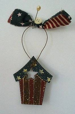 Hand painted Americana Birdhouse Ornament Christmas Patriotic Folk Art Country