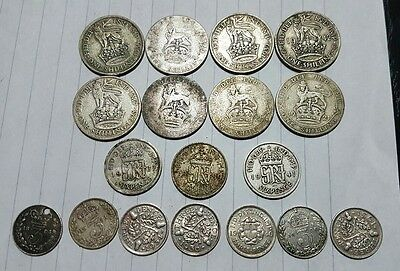Silver coin Collection pre 1947. Shilling, sixpence & threepence