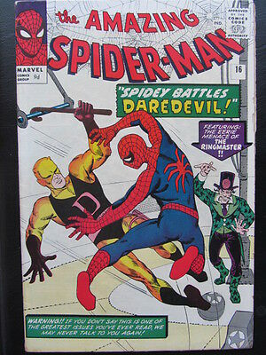 Amazing Spider-Man #16 (1964) Daredevil app, 1st cross-over / Ditko