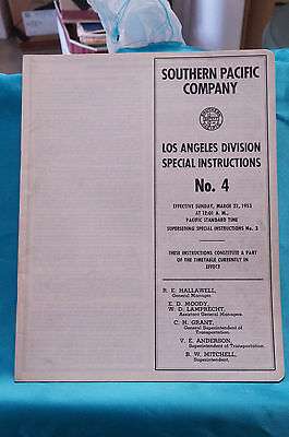 Southern Pacific Employee Timetable, #4, Los Angeles Div., Special Inst. 3/22/53